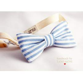 Bow Tie Csokornyakkendő len világoskék csíkos (új)