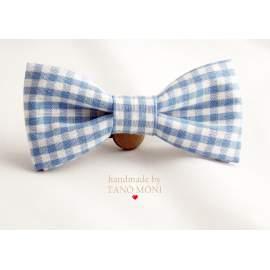 Bow Tie Csokornyakkendő len világoskék kockás (új)