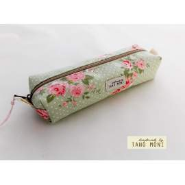 TOLLTARTÓ halványzöld pöttyös rózsaszín rózsás (új)