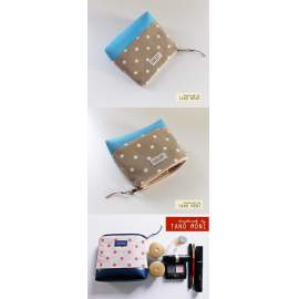 NESZESZER XS drapp fehér pöttyös világoskék műbőr díszítéssel  (új)