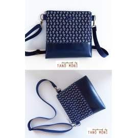 CONFORT BAG Middle sötétkék horgony mintás sötétkék műbőrrel (új)