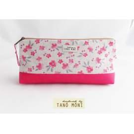 NESZESZER HOSSZÚ rózsaszín virágos pink műbőrrel  (új)