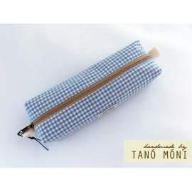 TOLLTARTÓ kék kiskockás drapp cimkével (új)
