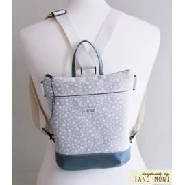 MIDDLE BAG 2 in 1 hátizsák és táska natur kisvirágos barna és galambszürke