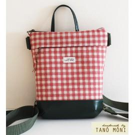 MIDDLE BAG 2 in 1 hátizsák és táska natur piros kockás sötétbarna olajzöld