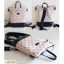 MIDDLE BAG 2 in 1 hátizsák és táska natur piros pöttyös sötétbarna és kék a