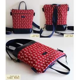MIDDLE BAG 2 in 1 hátizsák és táska piros és kék horgonymintás