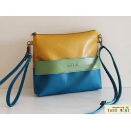 CLUTCH BAG táska sötéttürkiz zöld sárga