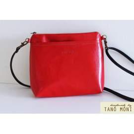 A KIS FEKETE táska piros színben kézi és átvetős (új)
