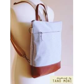 STREET BAG hátizsák és táska kék kiskockás barna aljjal