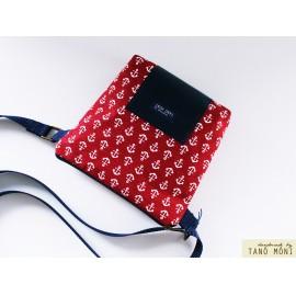LITTLE BAG textil táska piros horgonyos (új)