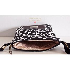 LITTLE BAG textil táska fekete indás (új)