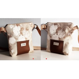 LITTLE BAG textil táska natur fehér rózsás (új)