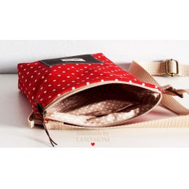 LITTLE BAG textil táska piros kispöttyös (új)