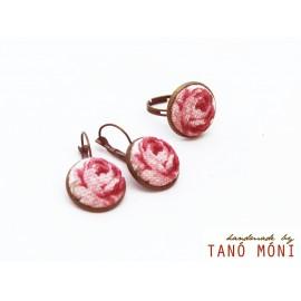 ÉKSZER SZETT fülbevaló gyűrű piros rózsás (új)