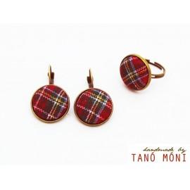 ÉKSZER SZETT fülbevaló gyűrű skót kockás (új)