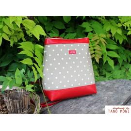 COUNTRY BAG hátizsák és táska drapp fehér pöttyös piros (új)