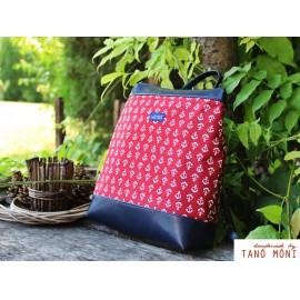 COUNTRY BAG hátizsák és táska piros horgonyos sötétkék (új)