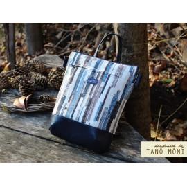 MIDDLE BAG 2 in 1 hátizsák és táska kék-barna csíkos barna és kék aljjal (új)
