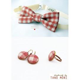 Csokornyakkendő -Ékszer szett natur piros kockás (új)