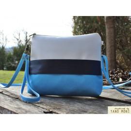CLUTCH BAG táska Világoskék sötétkék fehér (új)