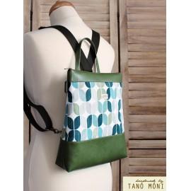 CONFORT BAG hátizsák és táska retro mintás zöld aljjal (új)