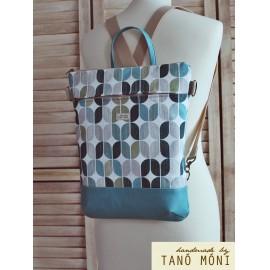 STREET BAG hátizsák és táska retro mintás türkiz aljjal  (új)