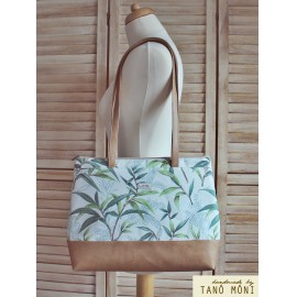 Big Day Bag zöld leveles világosbarna aljjal táska (új)